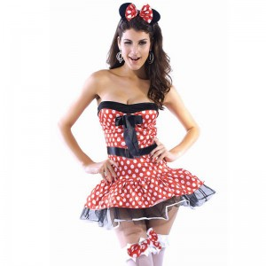 2014New-Fancy-Mickey-Mouse-Halloween-Costume-Strapless-Sexy-Girl-Pink-Dot-Dress