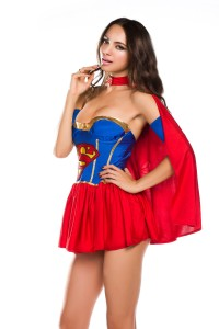 New-2014-Women-s-Adult-Classic-Halloween-Costumes-Sexy-Super-Girl-Hero-Fancy-Party-Dress-Strapless